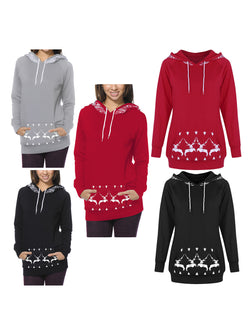 Christmas Elk Printed Casual Hoodies