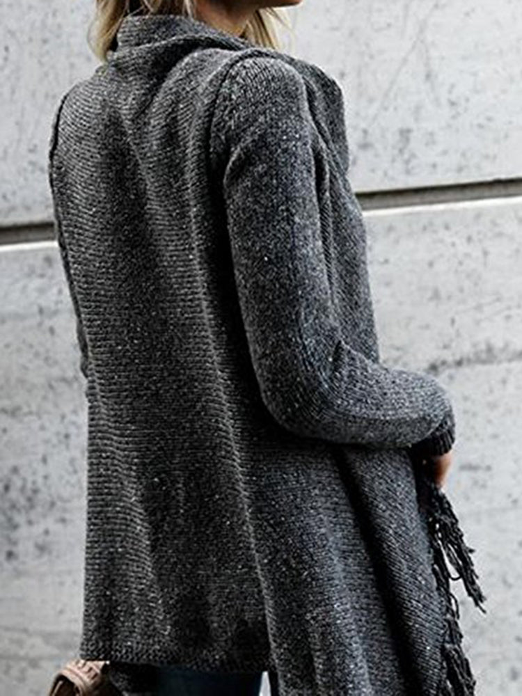Deep Gray Fringed Casual Cardigan