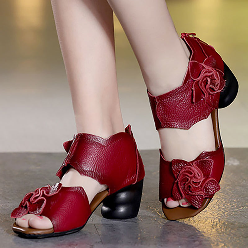 Vintage Daily Flower Genuine Leather Sandals