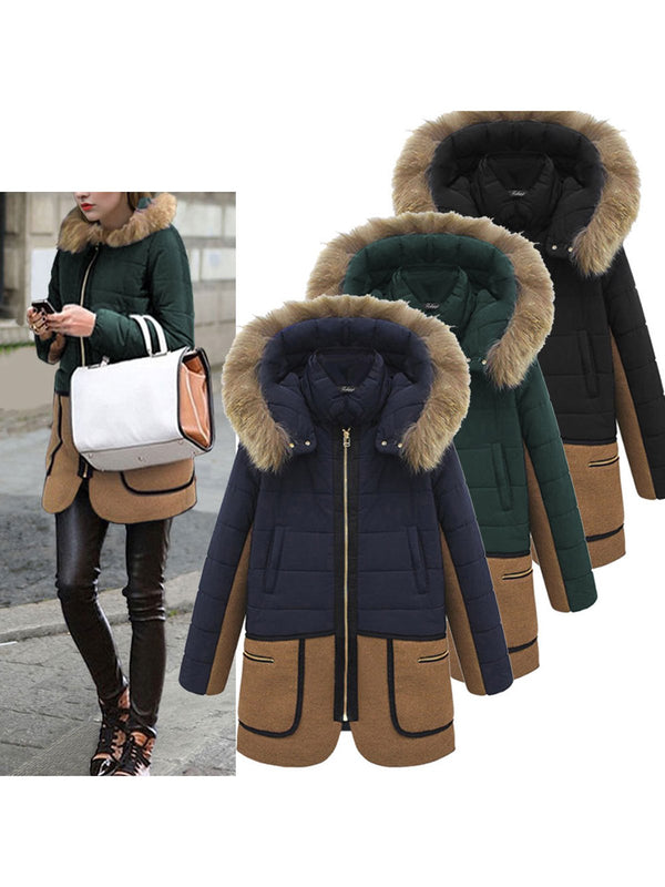 Color-block Zipper Pockets Hoodie Coat