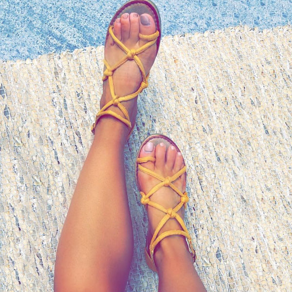 Rope Style Knotted Flat Sandals Women Ankle Strap Sandals