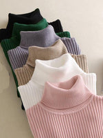 Turtleneck Elastic Sweater Slim Fit Knitted Skirt