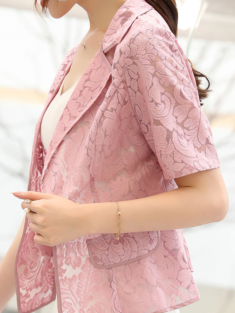 Guipure Lace Floral Casual Short Sleeve Coat