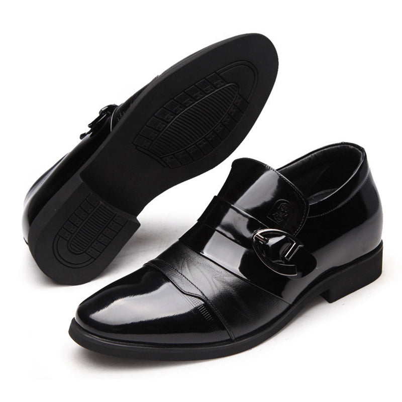 Men Classic Color Blocking Hook-Loop Business Casual Faux Leather Shoes