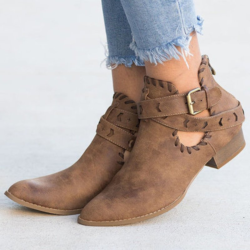 Women Stitched Belted Booties Shoes