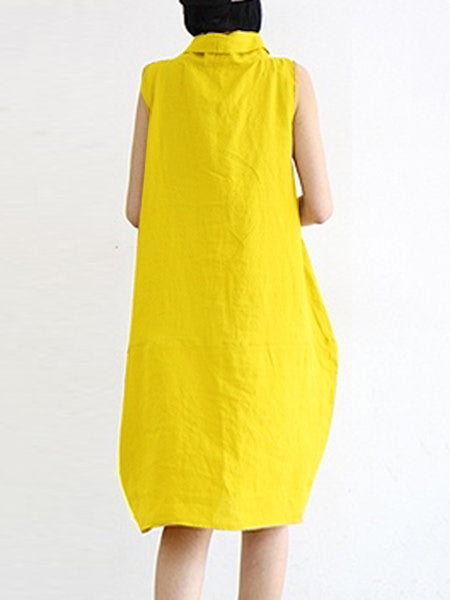 Yellow Sleeveless Cotton Midi Dress