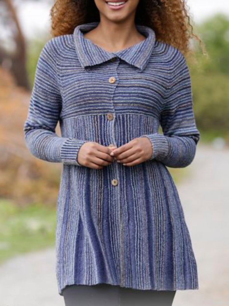Stripes Long Sleeve Casual Outerwear