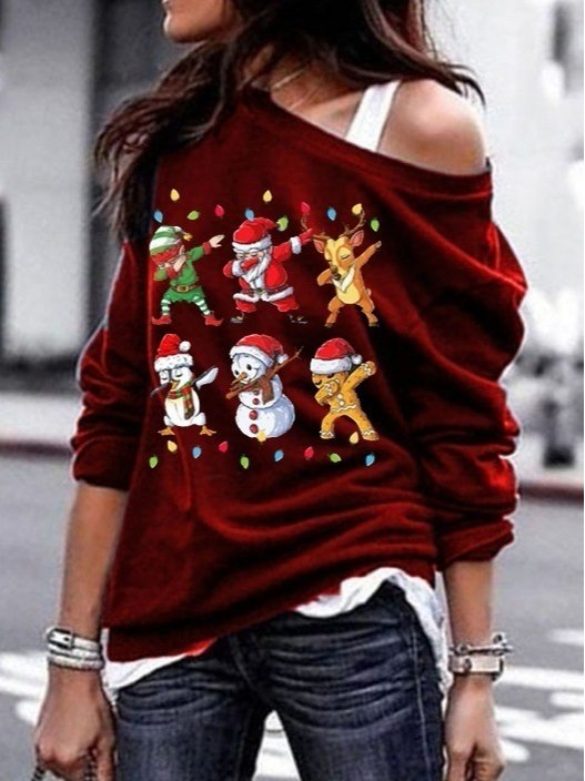 Christmas Women Bateau/boat Neck Christmas Snowman Casual Shirts & Tops