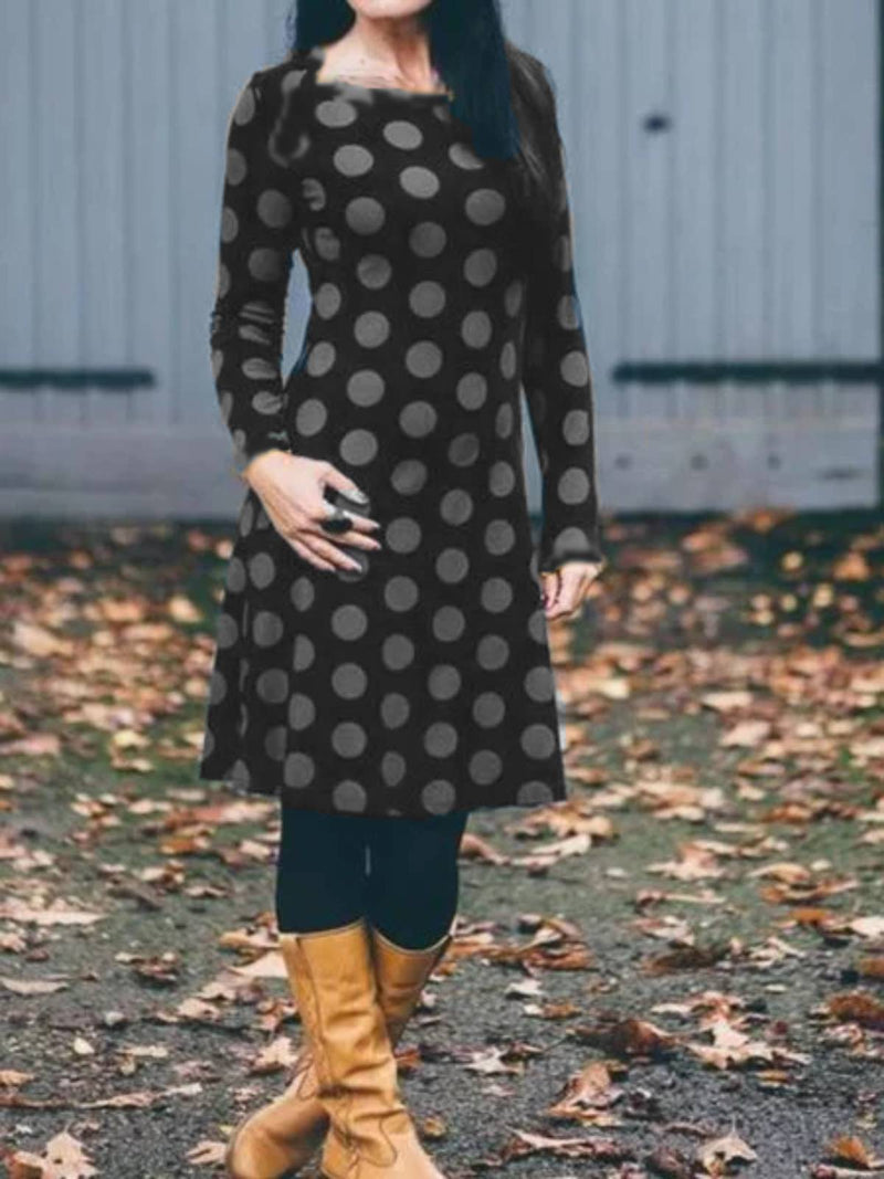 Blue Long Sleeve Geometric Dresses