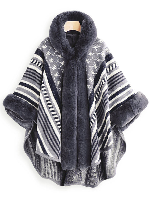 Elegant Faux Fur Oversized Stripe Poncho Coat