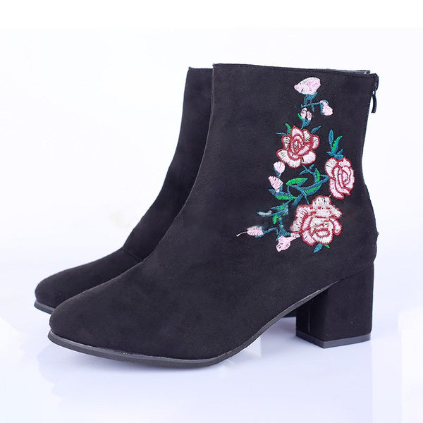 Embroidery Flocking Chunky Heel Boots