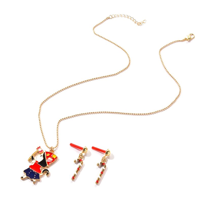 Christmas Girl Short Bead Necklace Walking Stick Earrings Set