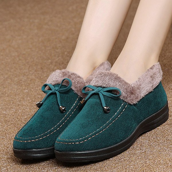 Casual Suede Fur Lining Flat Slip On Warm Ankle Boots