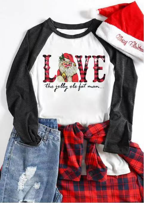Crew Neck Casual Long Sleeve Christmas Tops