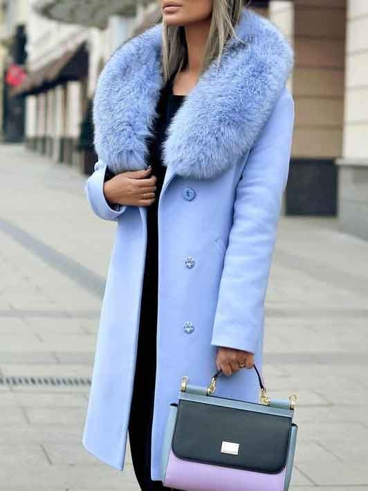 Light Blue Casual Wool Shift Outerwear