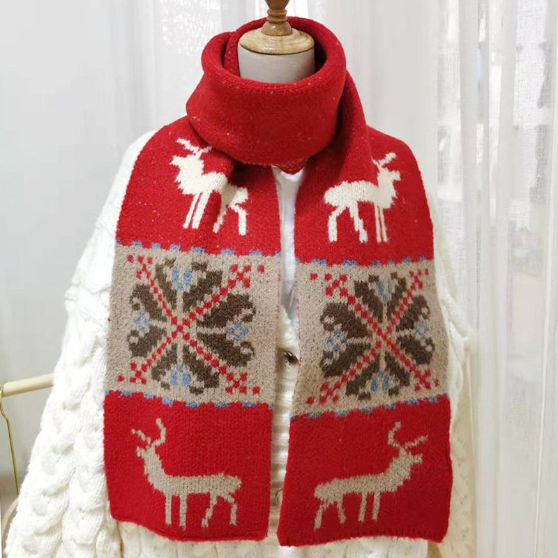 Christmas Snowflake Elk Wool Blend Casual Scarf With Scarf