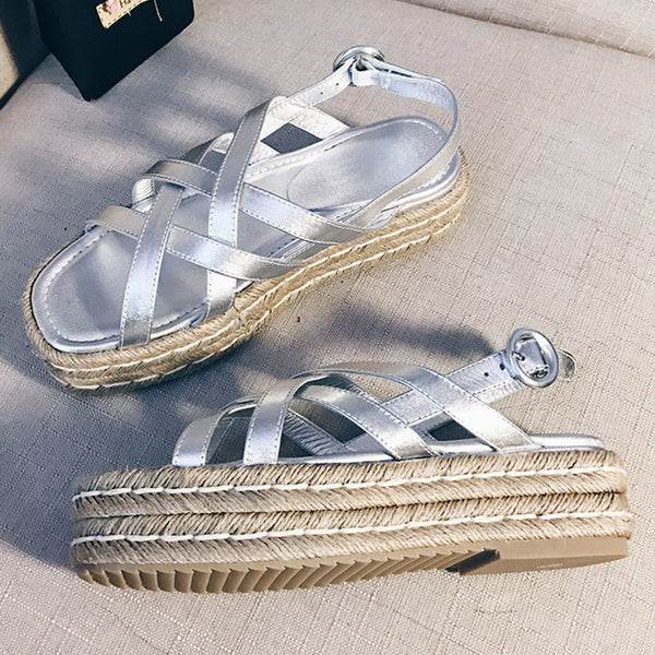 Women Comfortable Peep Toe Creepers Buckle Sandals Shoes