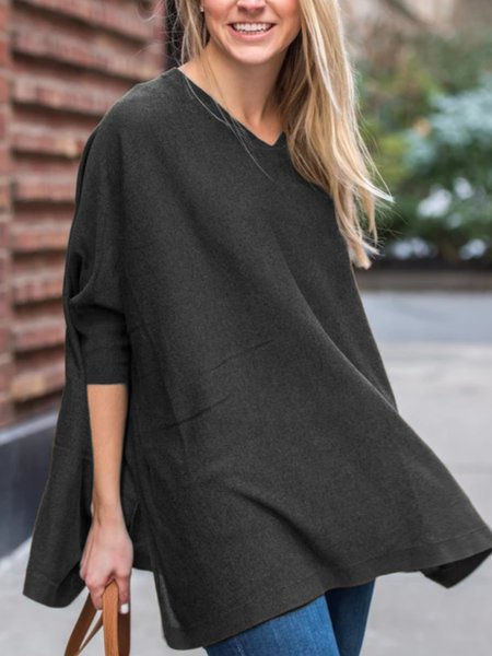 V Neck Casual Long Sleeve Plus Size Shirts & Tops