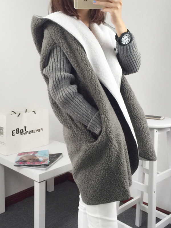 Long Sleeve Hoodie Casual Warm Plush Knit Coats