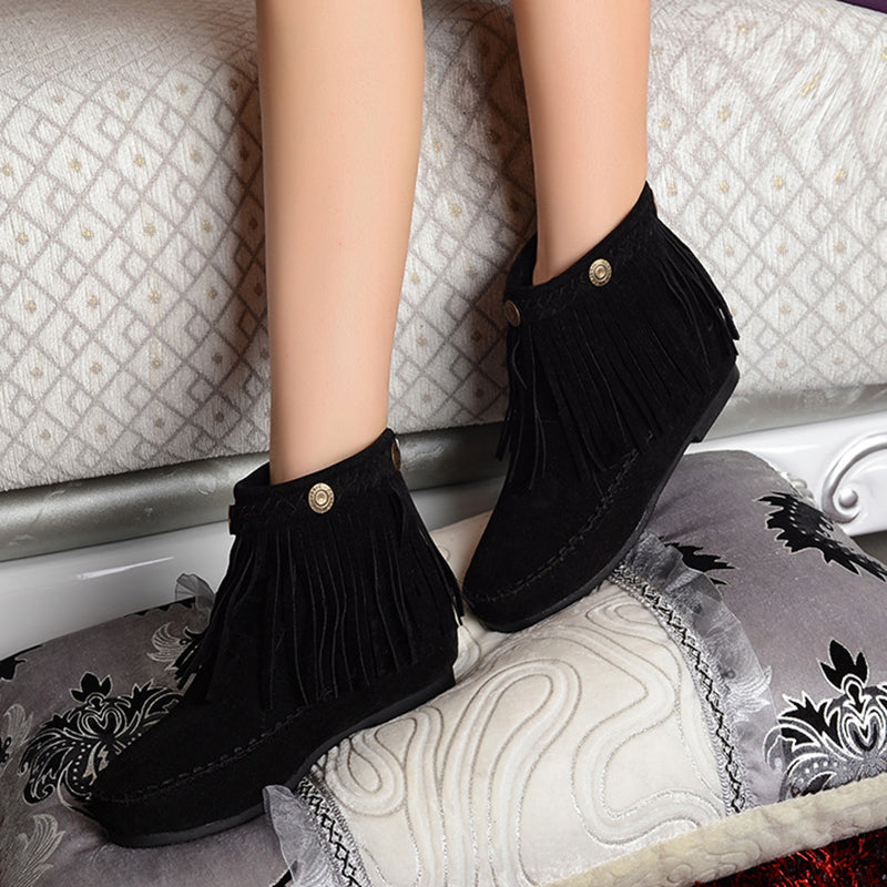 All Season Flat Heel Suede Leather Moccasin Fringe Tassel Ankle Boots Womens Shoes