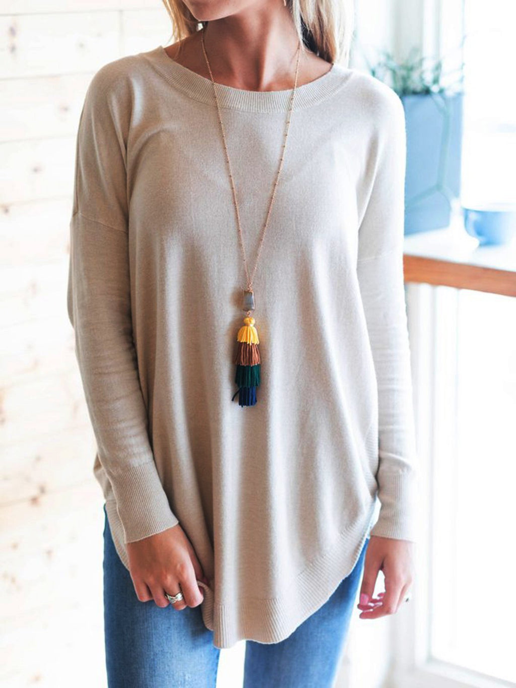 Apricot Casual Crew Neck Long Sleeve Solid Shirts & Tops