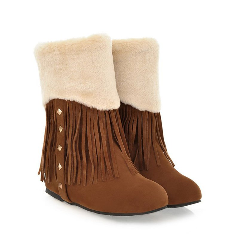 Womens Snow Boots Round Toe Winter Tassel Boots