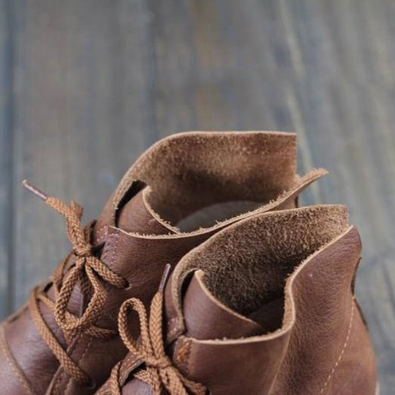 Flat Heel Lace-Up Round Toe Daily Women Boots