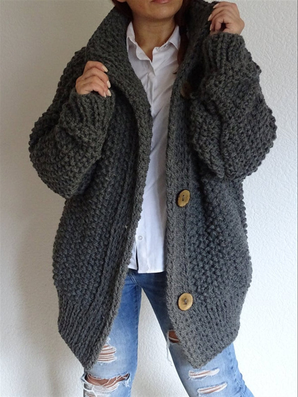 Plain Long Sleeve Buttoned Knitted Casual Outerwear