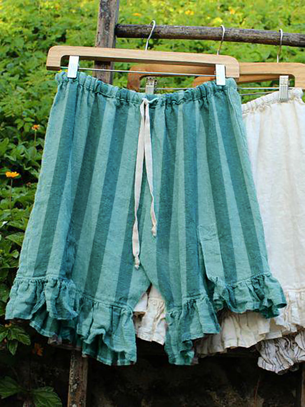 Folds Lace Up Elastic Waistband Shorts Stripe Linen Bloomers Pants
