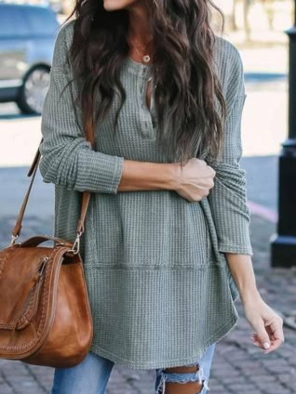 V Neck Cotton-Blend Casual Sweater