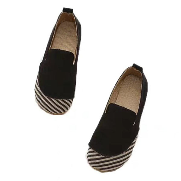 Womens Slip-On Faux Suede Flats Round Toe Flat Heel Shoes