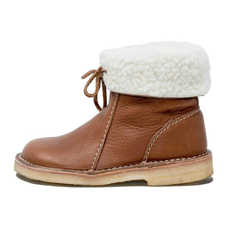 Women Comfy Soft Fur-Lined Leather Casual Round Toe Mid-Calf Winter Boots