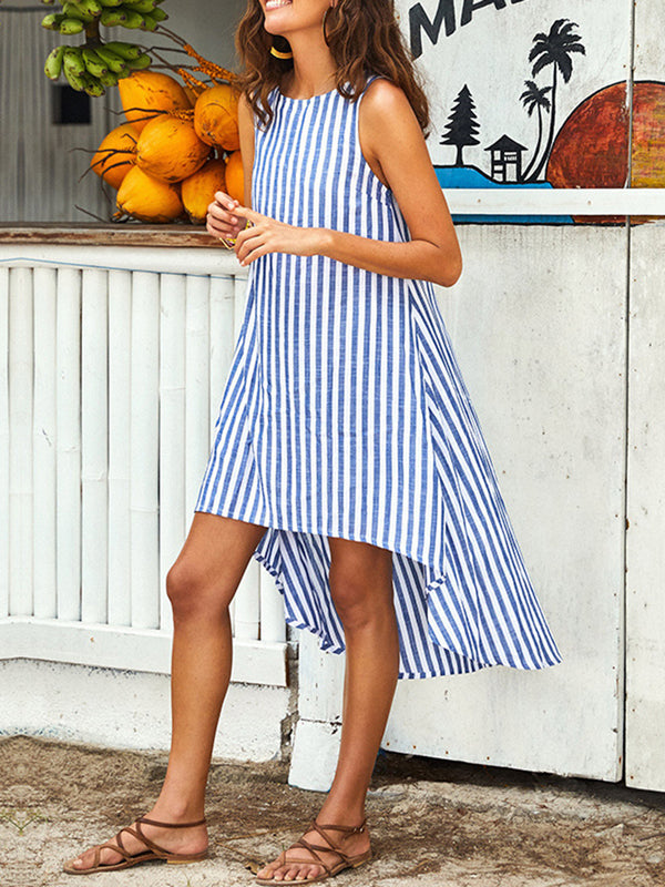 Striped Sleeveless A-Line Casual Dresses