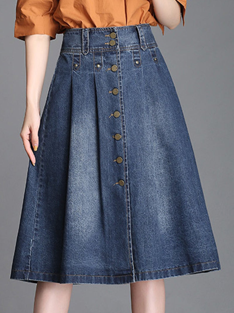 Blue Casual Solid Skirts