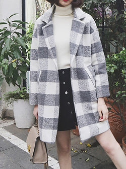 As Picture Cute Long Sleeve Lapel Cotton Woolen Outerwear