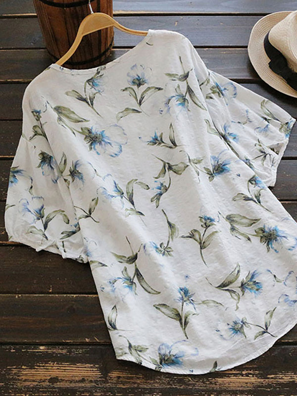 Women Summer Floral Casual Tunic Tops Short Sleeve Loose T Shirt Blouse