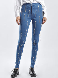 Blue Fringed Jeans Solid Skinny Pants