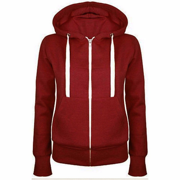 Women Casual Long Sleeve Zipper Hooded Cool Hoodies