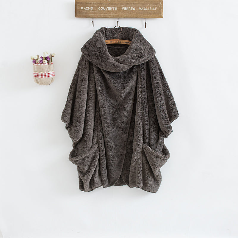 Casual Women Turtleneck Big Pockets Cloak Coat