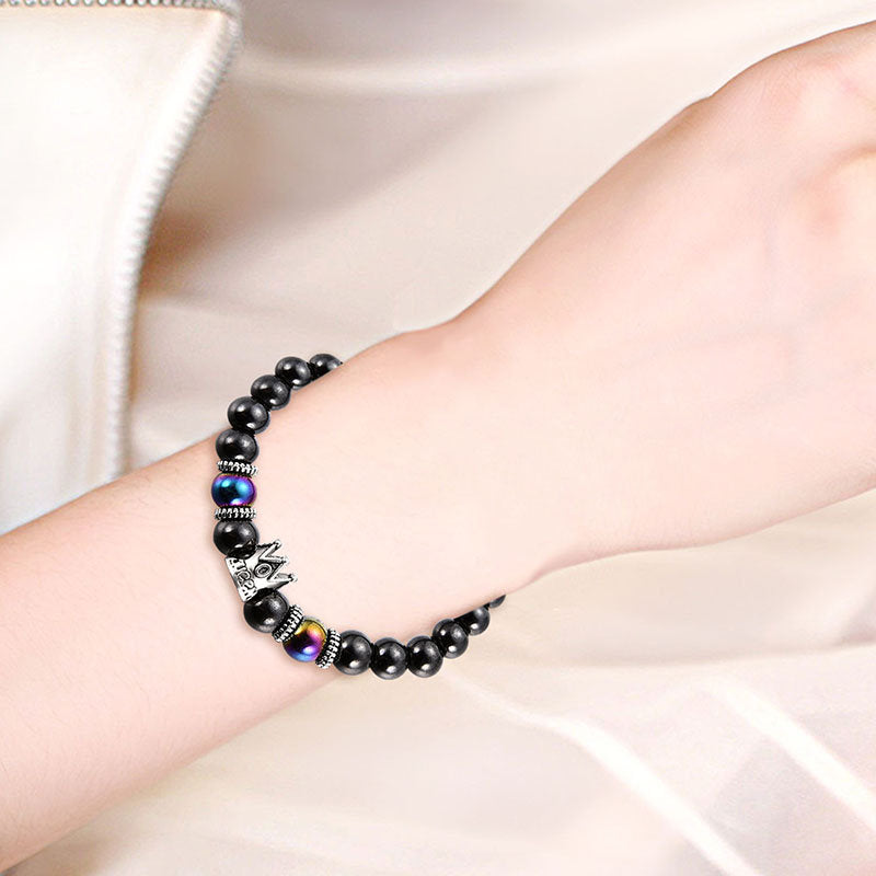 Vintage Beaded Bracelets Black Gallstone Imperial Crown Bracelets Ethnic Jewelry for Women Men