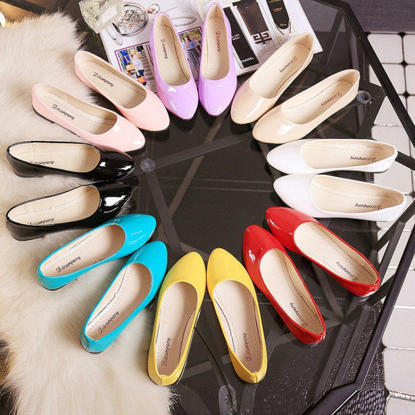 Multicolored Simple Work Shoes Women Slip-On Soft Large Size Flats