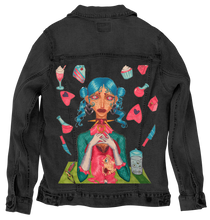 Load image into Gallery viewer, Black Denim Artwear Jacket - Gwendolyn