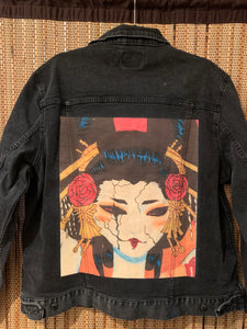 Black Denim Artwear Jacket - Oiran