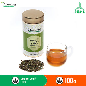 Tulsi Green Tea in Metal Caddy