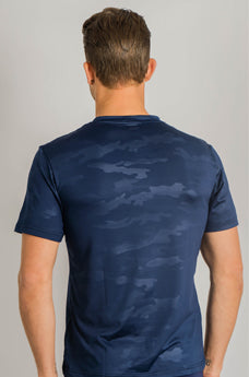 Male Camo Top  Marine Blue