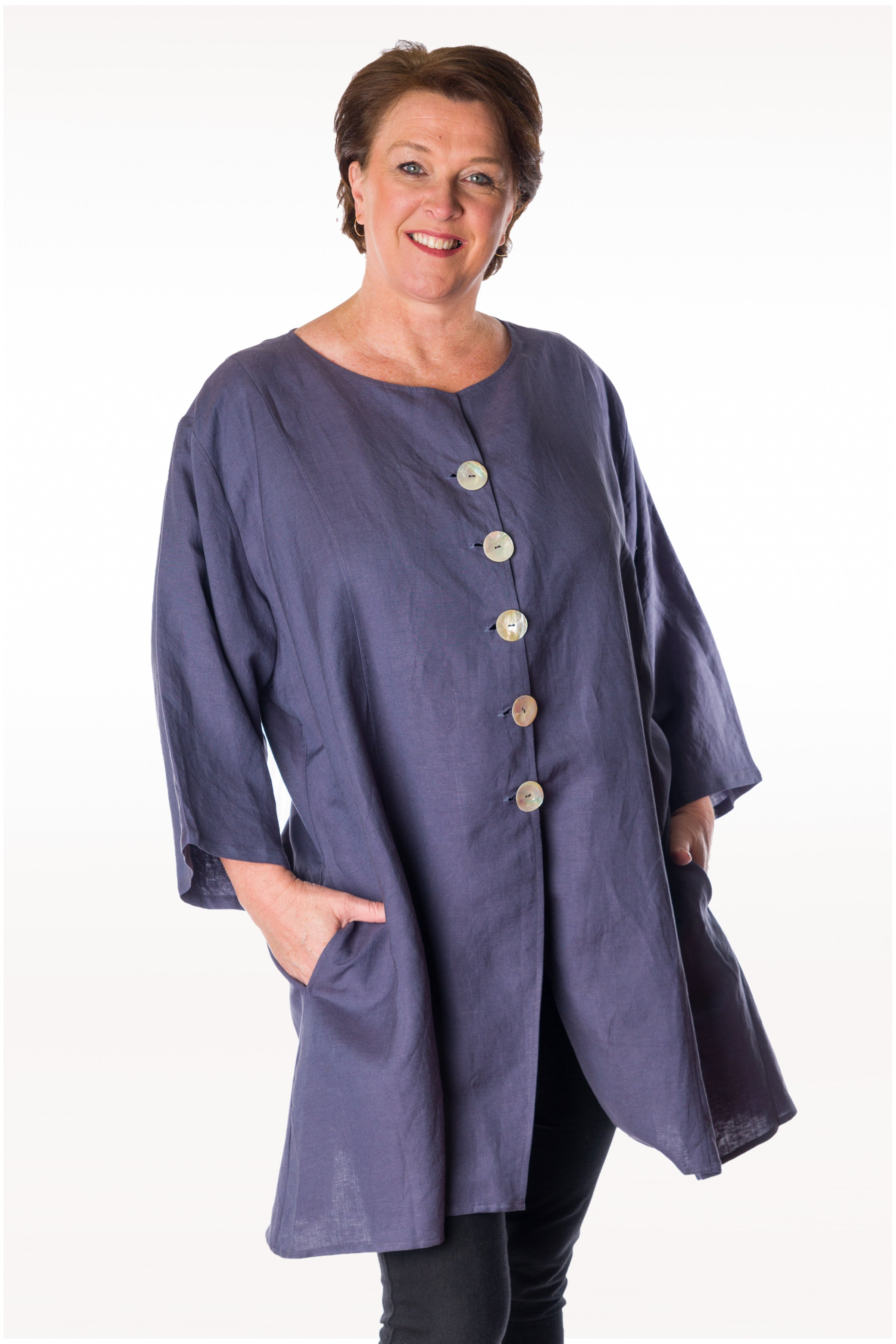 Mother of Pearl Button linen Over shirt