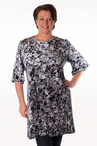 Silk Velvet Tunic - Black and White