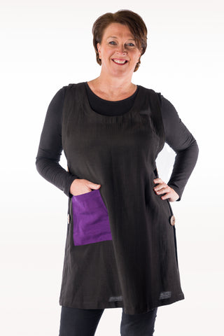 Raw Silk Side-Button Tunic with Contrast Pocket