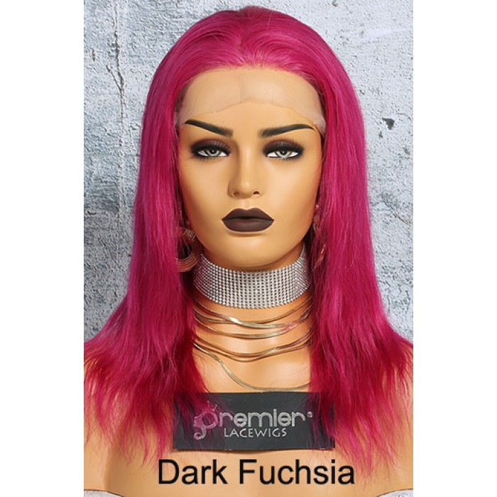 Wonderfully Designed Dark Fuchsia human hair lace front wig