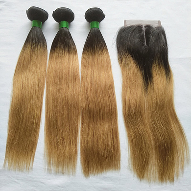 Ombre straight human hair Bundles with closure